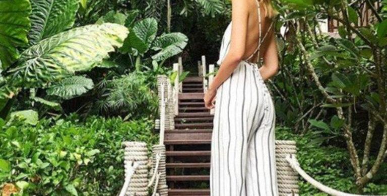 Black & White Vertical Stripe High Waist Sleeveless Jumpsuit
