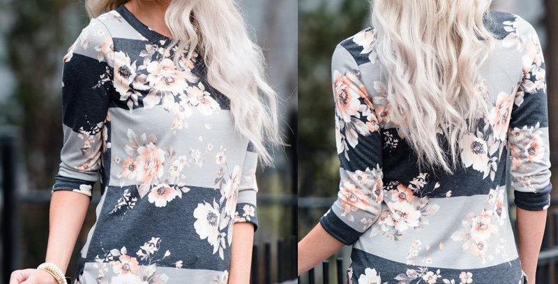 Grey Blossom Floral Stripe Top