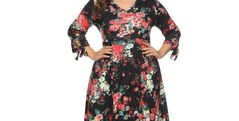 New Black Blossom Floral Tie Summer Dress