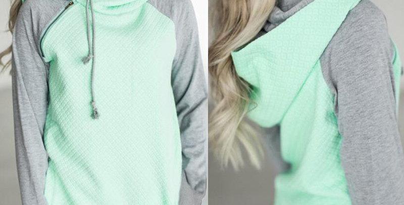 Mint Green & Grey Diamond Lattice Hoodie
