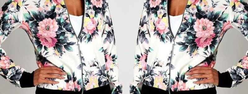 White Floral Casual Bomber