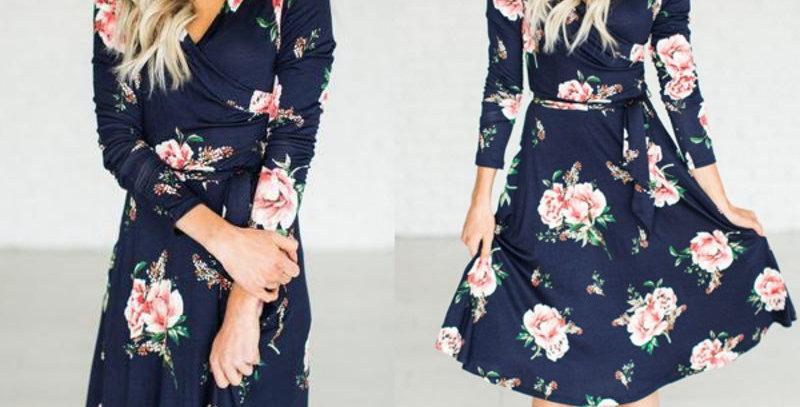 Blue Blossom Floral Ruched Boutique Dress