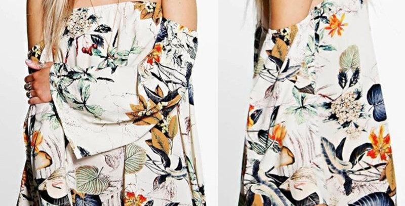 Floral Off Shoulder Boutique Party Dress