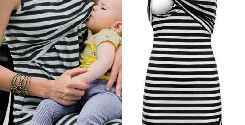 Black & White Stripe  Nursing  Dress