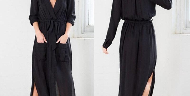 Black Long Dress w Cropped Sleeves Summer Dress