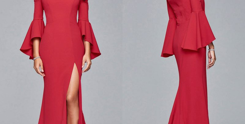 Red Ruffle Off Shoulder Party Prom Gown