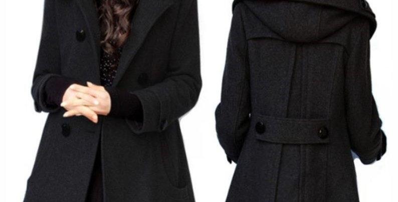 Black Double Breast Winter Coat 14/16/18