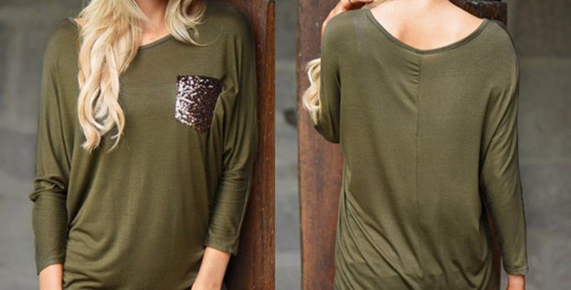 Green Kimono Batwing Top with Gold Sequin Pocket Plus Size
