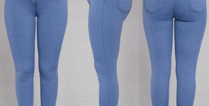 Blue Super Stretch High Waisted Skinny Pants