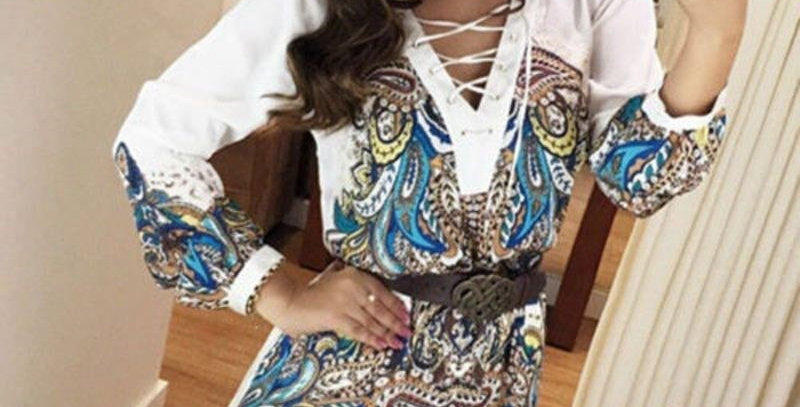 White Boho Floral Cross Neck Casual Party Dress