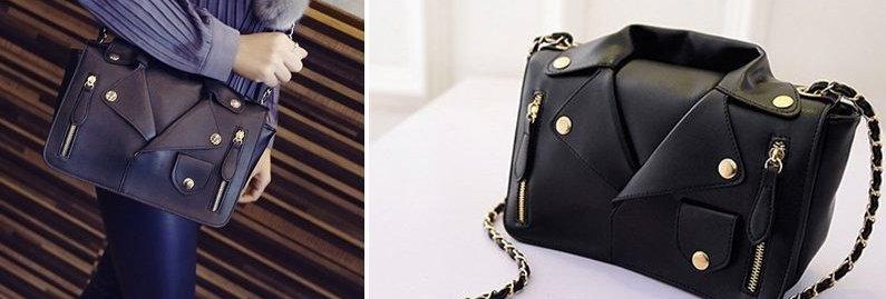 Black Blazer Jacket Cloth Style Chain PU Leather Tote Bag