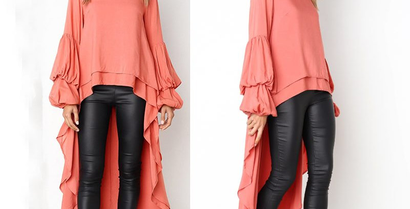 Smart Pink Layered Asymmetrical Swallow Tail Dress Top