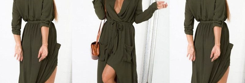 Green Long Dress w Cropped Sleeves or light jacket