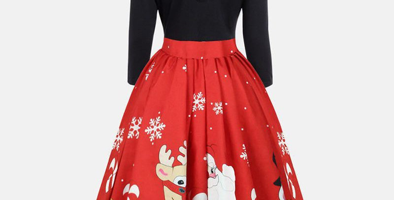 Red Rockabilly Festival Christmas Flared Midi Party Dress