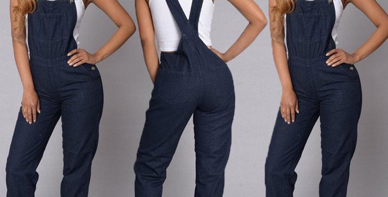 Denim Full Length Side Pockets Overalls