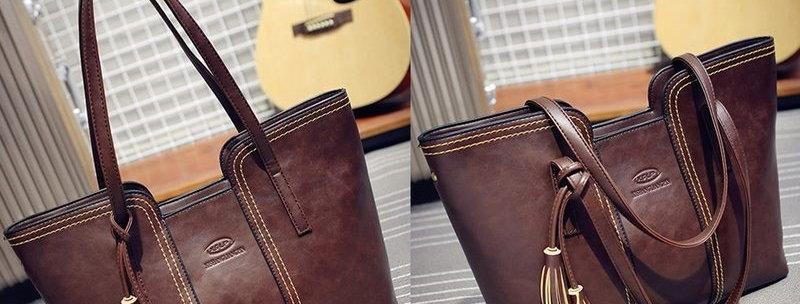 Classic Brown Tassel PU Leather Tote bag