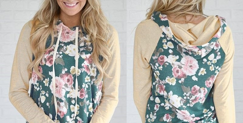 Beige Blossom Charm Floral Casual Hoodie