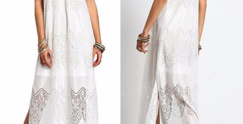 White Boho Hippie Lace Beach Maxi Dress