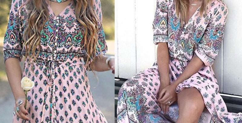 Floral Goddess Hippie Holiday Maxi Long Dress
