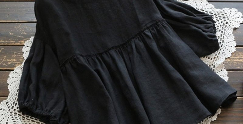 Black Balloon Sleeve Pleated High Waist Shirt.