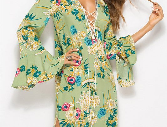 Green Boho Retro Floral Ruffle Sleeve Dress