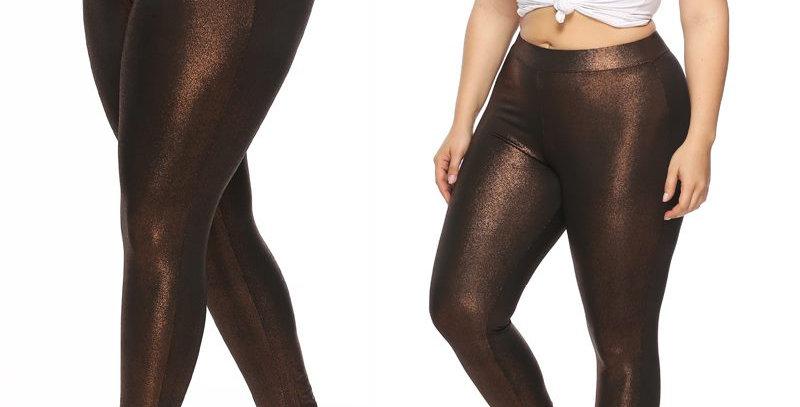 Brown Wet Look Metallic Shiny Skinny Leggings