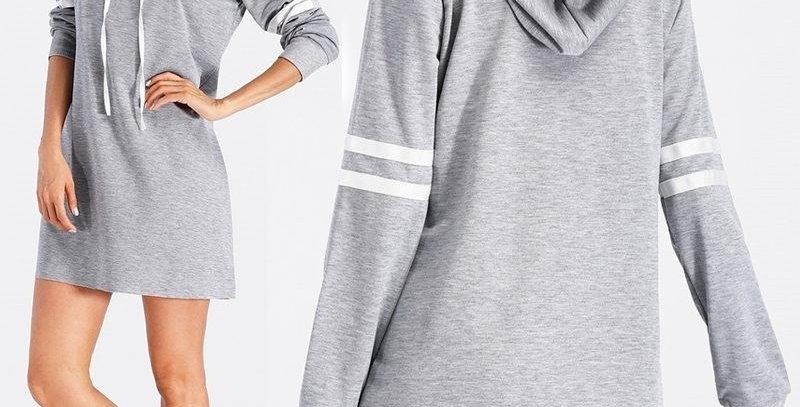 Light Grey Rugby Inspired StripeHoodie Sweatshirt(Very Light Material)