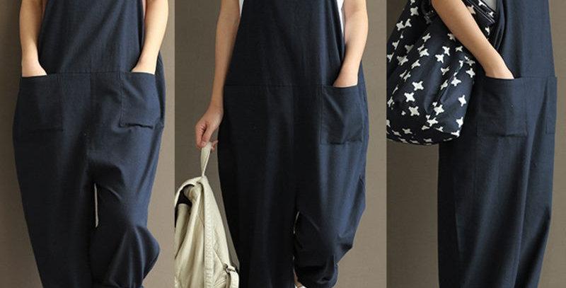 Plus Size Fashion Blue Cotton Linen Jumpsuit