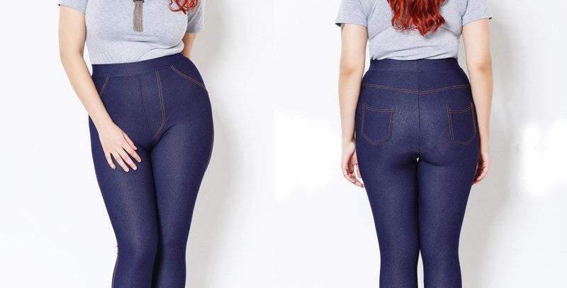 Blue High Waist Stretch Jeans Leggings