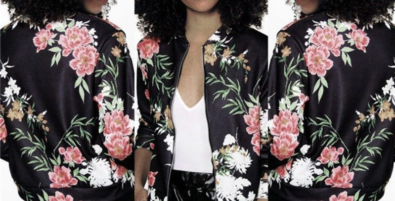 Black Zip Up Blossom Floral Bomber