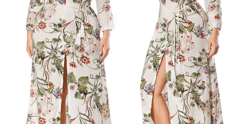 Floral Boho Thigh Split Maxi Long Party Dress + Belt