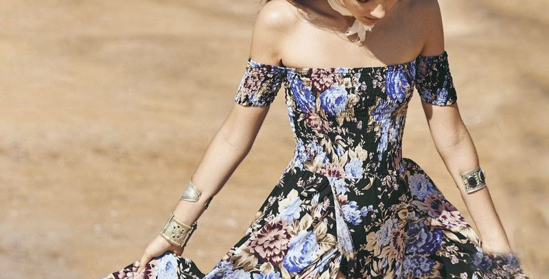 Boho Floral Strapless Holiday Maxi Long Dress