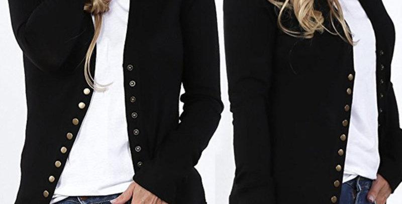 Black Button Up Cardigan Top