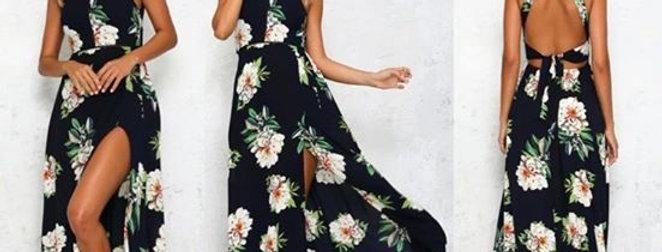 Blue Floral Thigh high Split Boutique Dress