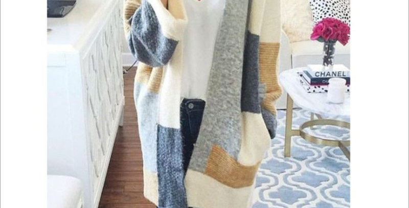 Slouch Geo Print Knit Sweater