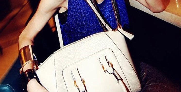Cream Convertible PU Leather Women's Tote Bag