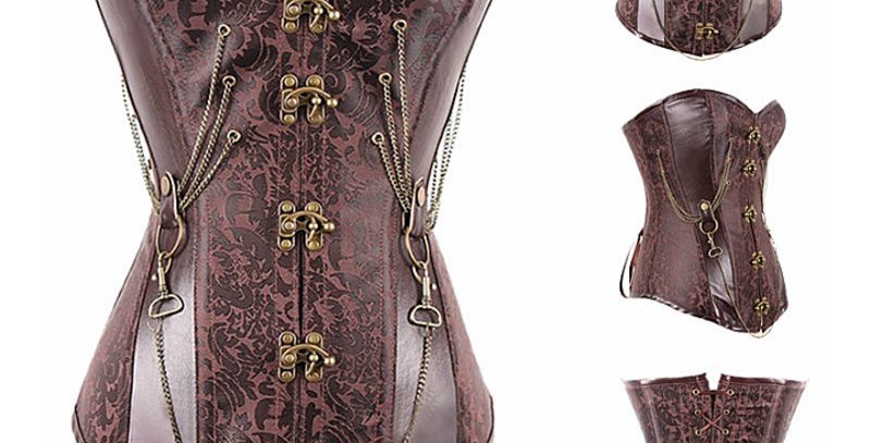 Copper Faux Leather Corset Womens