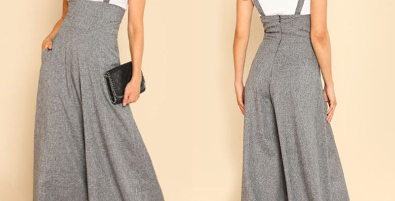 Grey Wide Leg Pants Baggy Jumpsuit Bib Playsuit