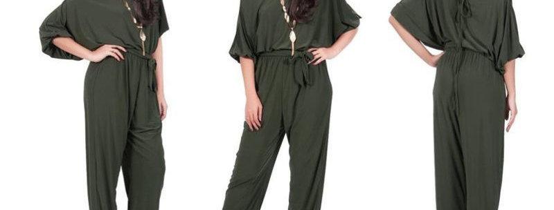 Army Green Kimono Off ShoulderJumpsuit