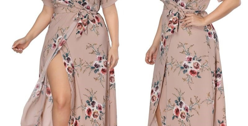 Rosy Brown Blossom Floral Thigh Split Wrap