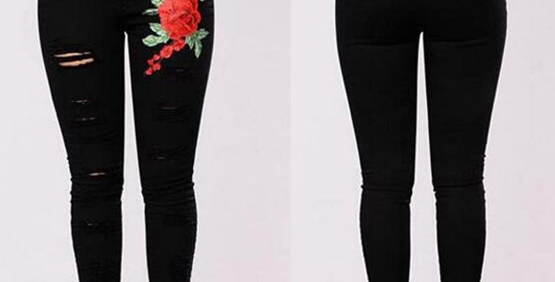 High Waist Floral Embroidered Skinny Jeans