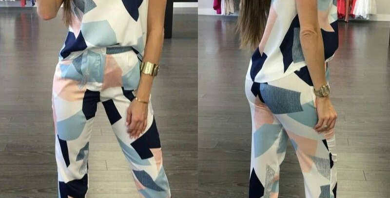 Geo Print Sleeveless Top + Fitted Trousers Set Combo