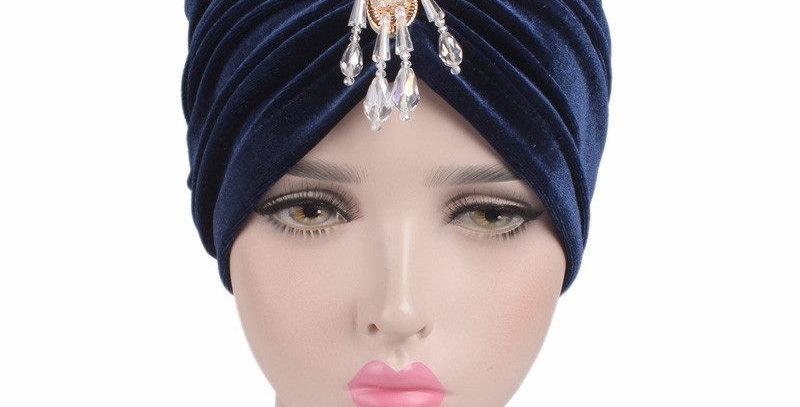 Gorgeous Blue Velvet Turban Vintage Retro Headwraps
