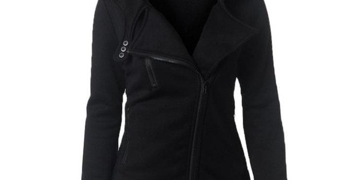 Black Long Sleeve Side Zip Coat Hooded Jacket
