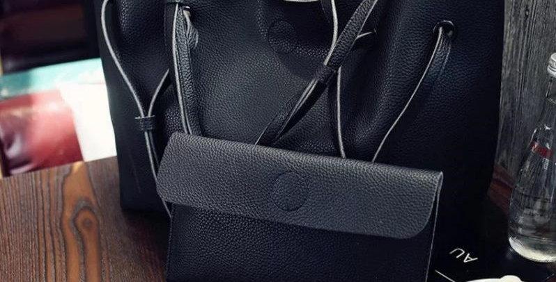 Classic Black Large Handbag Shoulder Tote Bag + Clutch Wallet Combo