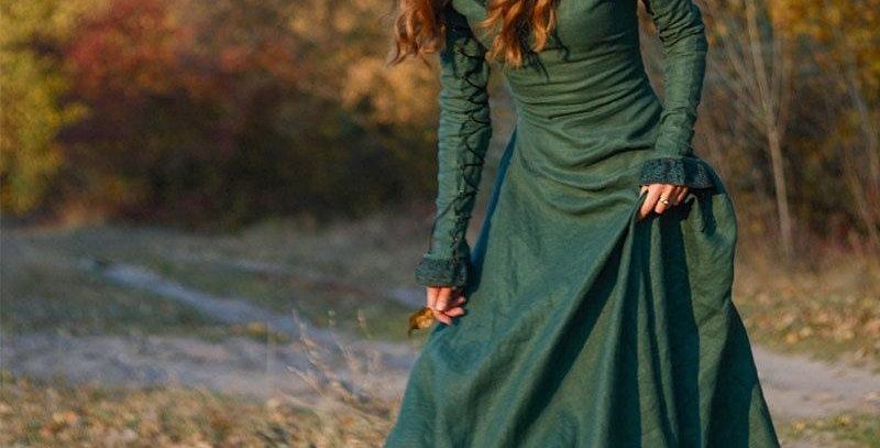 Long Dark Green Medieval Gown