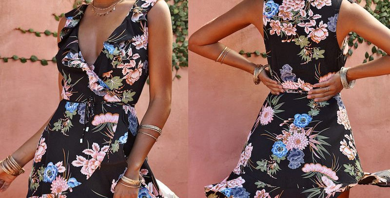 Black Blossom Floral Ruffle Boutique Mini Party Dress