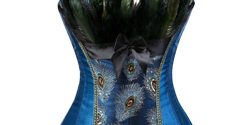 Lingerie Victorian Blue Strapless Peacock Feather Lace Up Bustier