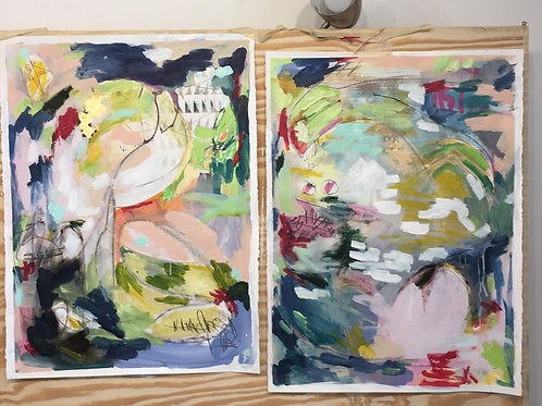 "Covid Paintings 2 & 3, 22.5 x 30"" paper PRINTS"
