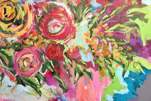 "June 2020, Floral #2, 36 x 24"" acrylic on canvas"